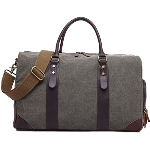 Sucastle Large capacity retro travel bag hand recliner canvas bag Sucastle Colour:ArmyGreen Size:50x31x23cm