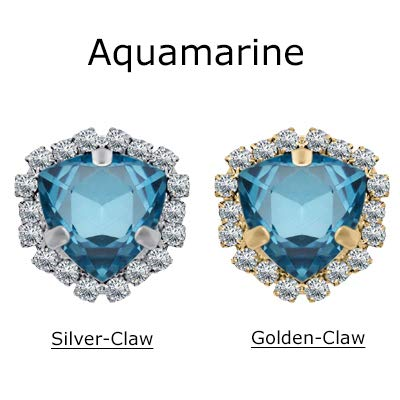 Maslin 5pcs/Bag Glass Crystal Rhinestones Buttons for Crafts 12mm Needlework Garment Beads Buttons Jewelry Making Pearls for Handicraft - (Color: Aquamarine, Size: Gold Claw 12mm)