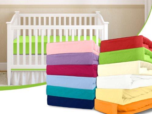 Kinder-Jersey-Spannbetttuch - mit einer Steghöhe von ca. 20 cm passend für Kinder- und Babybettmatratzen - erhältlich in 15 ausgesuchten Farben und einer Einheitsgröße von 60-70 cm x 120-140 cm, apfelgrün
