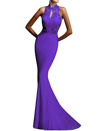 GlorySunshine Women's Sheath Sexy Lace Backless Mermaid Bridal Flare Dress (XL, Purple)