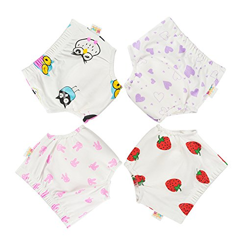 Babyfriend Infant Baby Girl's Cotton Toilet Potty Training Pants 4 Pack of Waterproof Cloth Diaper Underpants