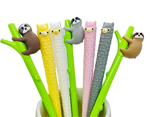 Cute Colorful Animal Alpaca Llama and Sloth Tree Gel Pens Set, Black Ink 0.5 mm, 7 Pieces for School and Office Supplies, Stationary Gifts, Cute Kawaii Pens