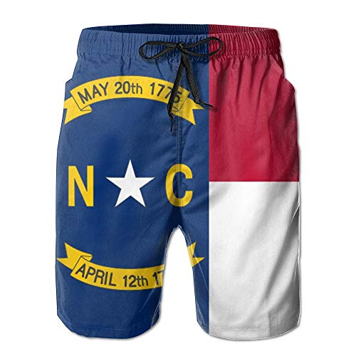 Men's Beach Pants Casual Popular Shorts North Carolina Retro Pattern Swim Pants Sweatpants Workout Quick Drying Workout White