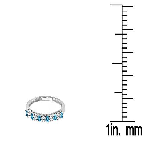 Dazzlingrock Collection 10K Gold Round Blue Topaz & White Diamond Anniversary Stackable Wedding Band