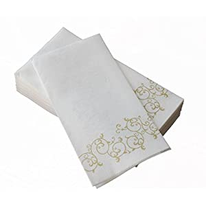 "SimuLinen Hand Towels - Decorative GOLD Floral - Durable, Cloth Like & Disposable - Guest Towels & Bathroom Towels (17""x12"" - Box of 100)"