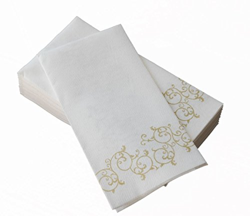Simulinen Hand Towels Decorative Gold Floral Durable Cloth Like Disposable Guest Towels