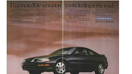 "Magazine Print Ad: Black 1992 Honda Prelude,""That Incredible Sensation You're Feeling is the Road"""
