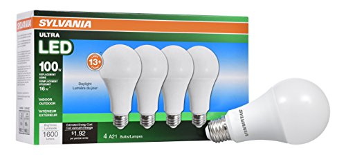 (SYLVANIA General Lighting 72978 Sylvania Dimmable Led Light Bulb, 16 W, 120 V, 1600 Lumens, 5000 K, CRI 80, 2-5/8 in Dia X 5.15 in L, 4 Piece)