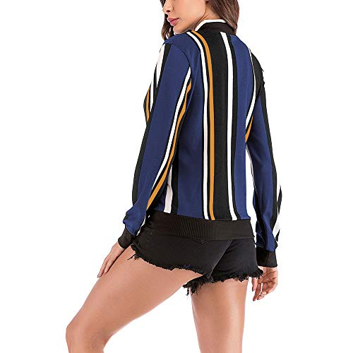 Baseball Blouse DAYSEVENTH Print Jacket Fashion Bird blue Women's Zipper 3 Coat wqqXxTtPO