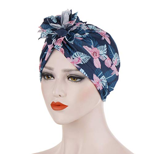 (Women Printed Floral India Hat Muslim Ruffle Cancer Chemo Beanie Turban Wrap Cap Navy)