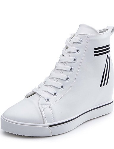 Moda Punta Cn39 us8 Uk5 5 Plataforma A Redonda Blanco Black Negro 5 us7 Eu39 De Xzz Eu38 Semicuero Casual Botas Uk6 Botines Cn38 White Zapatos Mujer La wHAaAWqXv