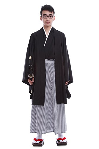 [Lemail wig Japanese Traditional Samurai Mens Black Cardigan kimono Robe Costume] (Japanese Costumes For Male)