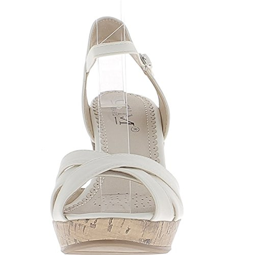 Sandali con zeppa bianco a 10cm di cuoio Guarda spose tacco attraversate