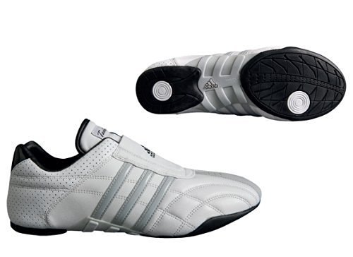 adidas Taekwondo Adilux Shoes (10, White W/Gray Stripe)