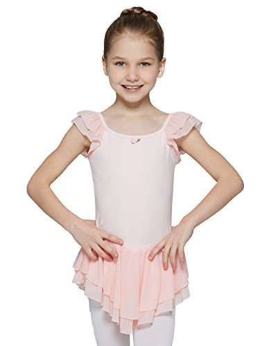 MdnMd Gymnastics Leotard for Youth Girls with Flutter Ruffle Sleeve (Ballet Pink, Age 8-10,Height 52-55