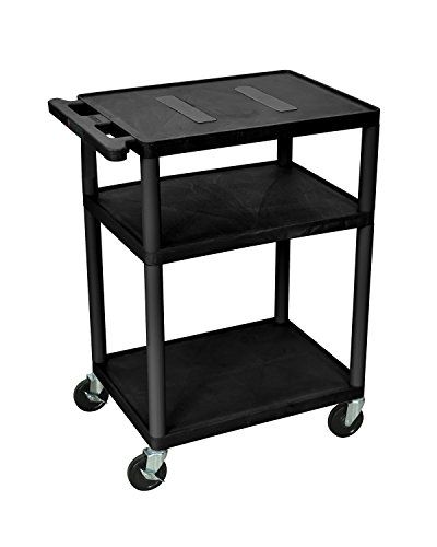 Offex OF-LE34-B Home Office Storage Endura Audio/Video Cart with Three Shelves, 34