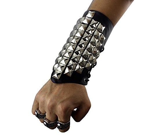 Pyramid Wristband (Metal Silver Wristband With Pyramid Spikes Bracelet Punk Biker)