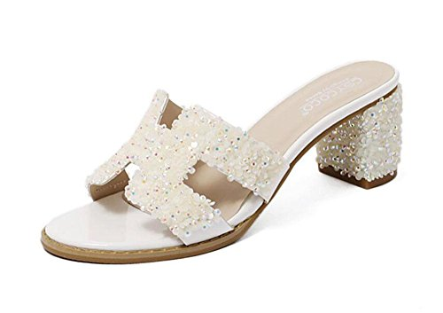 GLTER Femmes Au Toe Mules Style Romain Chaussures grossières Talons hauts Chaussons Banquet Sandales Blanc Noir