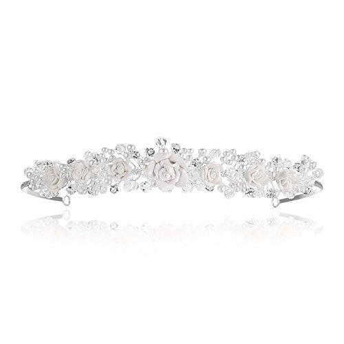 Handmade Crystal Beige Resin Flower Beads Pearl Bridal Tiara Crown T772