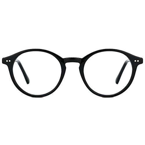 TIJN Blue Light Blocking Glasses Men Women Vintage Thick Round Rim Frame Eyeglasses (Black(non blue light blocking))