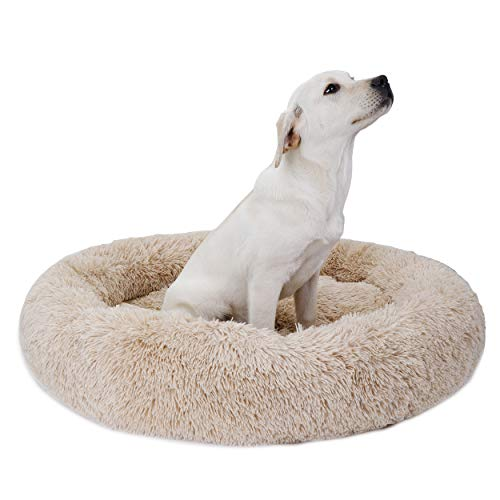 Donut Dog Bed Calming Ultra Soft Shag Faux Fur Dog Bed Comfortable Donut Cuddler for Dogs and Cats,Self-Warming and…
