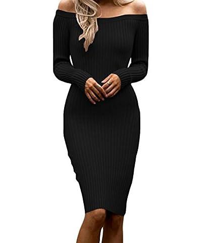 DH-MS Dress Off Shoulder Long Sleeve Rib Knit Sweater Dress(Black,M) (Burke Wireless Mouse)