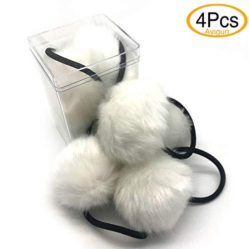 4 PCS Rabbit hair ball Hair Tie Bands Cute Girls Hair Tie Bands Hair Elastics Lovely Style Hairball for Baby Kids Girl Women Hair Accessories (White 4Pcs)