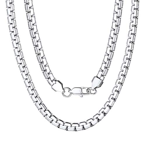 Stainless Steel Round Box Chain Necklace with Lobster Clasps 6mm 22