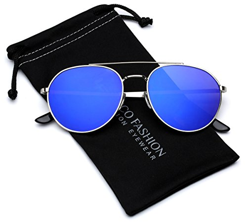 Flat Lens Round Aviator Sunglasses with Reflective Color Tinted - Cheap Sunglasses Round Mens