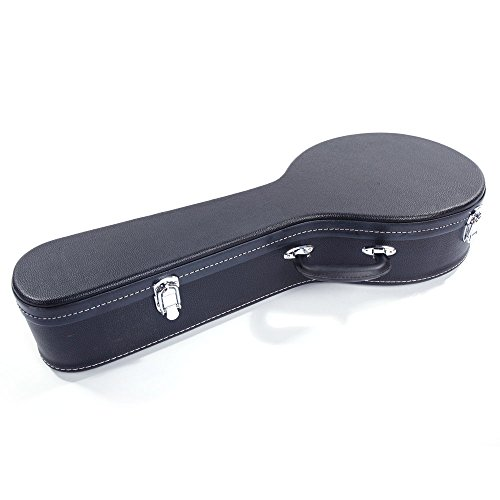 (Hardshell A-Style Microgroove Pattern Leather Wood Mandolin Case Black)