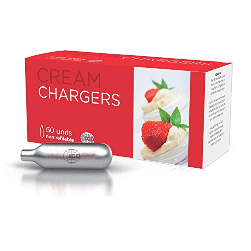 - Impeccable Culinary Objects (ICO) 50 Piece N2O Cream Chargers, 8g, Silver