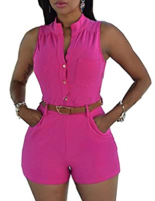 Pinkyee Women's Sexy Sleeveless Belted Short Rompers Casual Summer Jumpsuits(Please Select One Size Bigger)