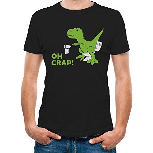 Crap Black T-shirt (Tstars Rex - OH Crap! Funny Dinosaur Apparel - Adult Raptor Joke T-Shirt Medium Black)