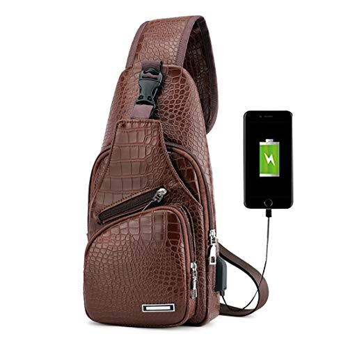 (Men Chest Bag, Leather Sling Shoulder Bag, Crocodile Pattern Water Resistant Crossbody Bag with USB Charging Port Brown)