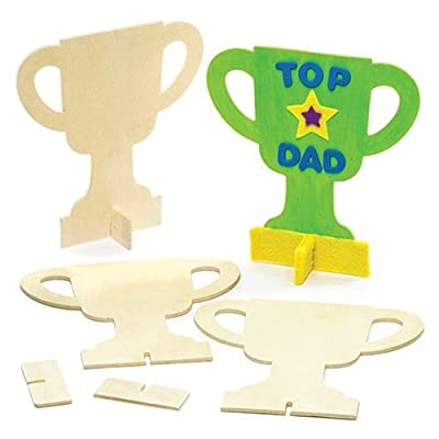 Baker Ross AR140 Design Your Own Wooden Trophy, Arts and Crafts Painting Activities for Children's Prizes & Motivational Reward (Pack of 6), 14.5cm: Arts, Crafts & Sewing