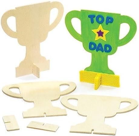 Baker Ross Trofeos de madera perfectos para bolsas sorpresa y para regalar como premio en concursos infantiles (pack de 6): Amazon.es: Hogar