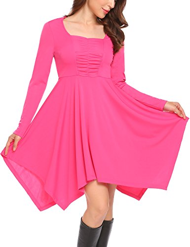 SE MIU Womens Asymmetrical Hem Long Sleeve Fit Casual Swing T-Shirt Tunic Dress