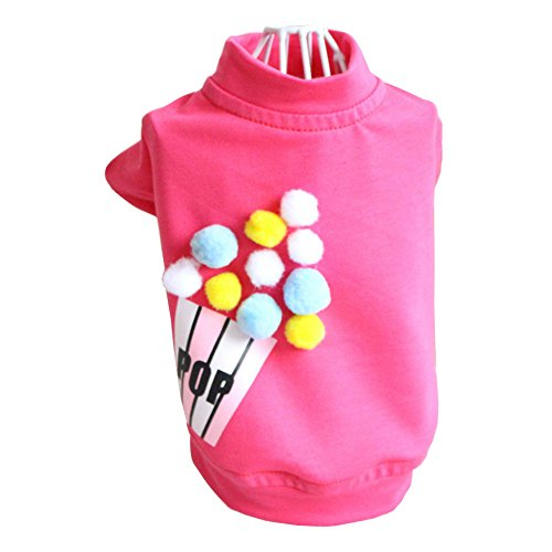 Tortoise Dog Costumes (Zerotone Summer Spring Cute Candy Color T-shirt Decorated with Colorful Pompons for Small Pet Dog Cat Rose-red M)
