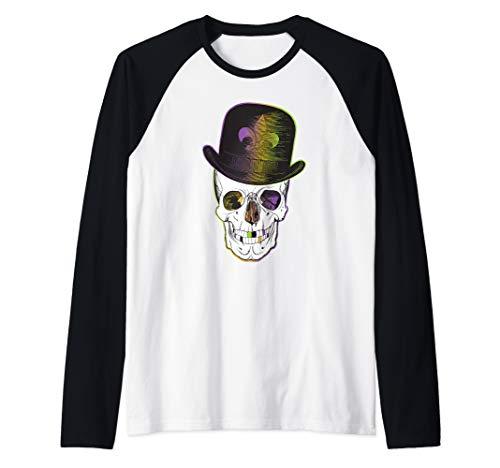 New Orleans Creole Voodoo Skull Halloween Raglan Baseball Tee (Best Jazz On Frenchmen Street New Orleans)