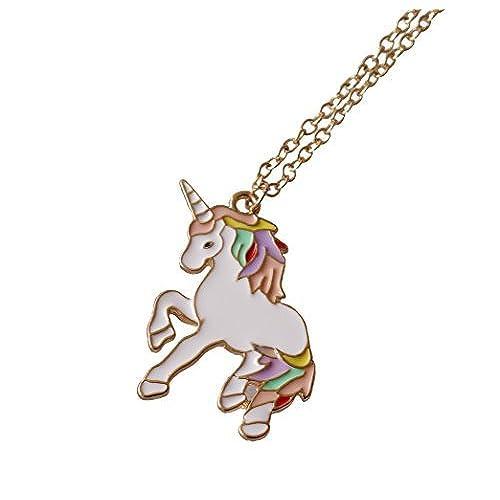f52ad9a8a125 Barato Arcoiris Unicornio Collar para chicas Collar Con Colgante Regalo De  Cumpleaños Navidad