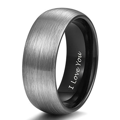 - Shuremaster 8mm Black Tungsten Wedding Couple Ring Band Men Women Matte Brushed Engraved I Love You Size 10.5