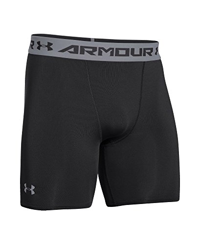 Under Armour Men's HeatGear Armour Compression Shorts – Mid, Black (001)/Steel, X-Large by Under Armour (Image #3)