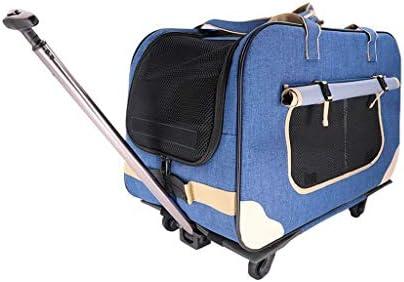 小型犬や猫用の車輪付きペットキャリア、換気の良い布製ペットバッグ、ブルーストライプレッド (色 : 青)