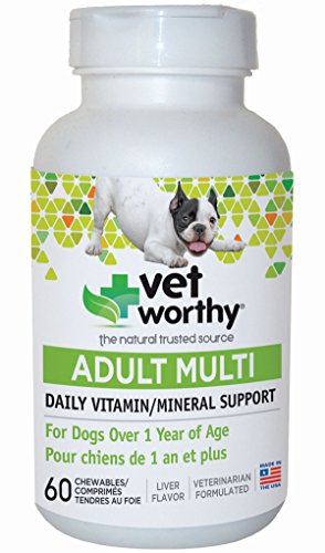 Vet Worthy Adult Multi Vitamin Liver Flavored Chewables for Dogs (60 Count) ()
