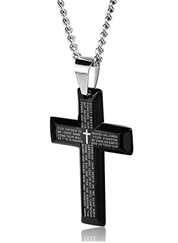 (Jstyle Jewelry Men's Stainless Steel Simple Black Cross Pendant Lord's Prayer Necklace 24 Inch)