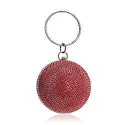 Ball Shape Clutch Purse With Red Rhinestone & Ring Handle