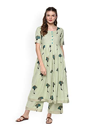Women Green Printed Kurta with Palazzos Full Set Dream Angel Fashion (Large-38)