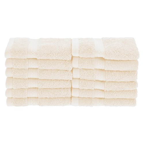Superior Rayon from Bamboo and Cotton Face Towels, Velvety Soft and Super Absorbent, Hotel & Spa Quality Washcloth Set of 12 - Ivory, 13