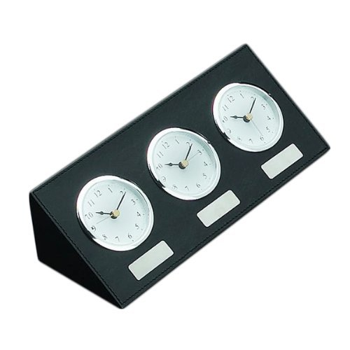 - Bey-Berk D437 Black Leather Triple Time Zone Quartz Clock with Chrome Accents and 3 Engraving Plates,