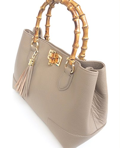Women's Italy Made Bamboo Leather In Superflybags Jungle Genuine Model Handbag Taupe Handles TOdOxvwRq